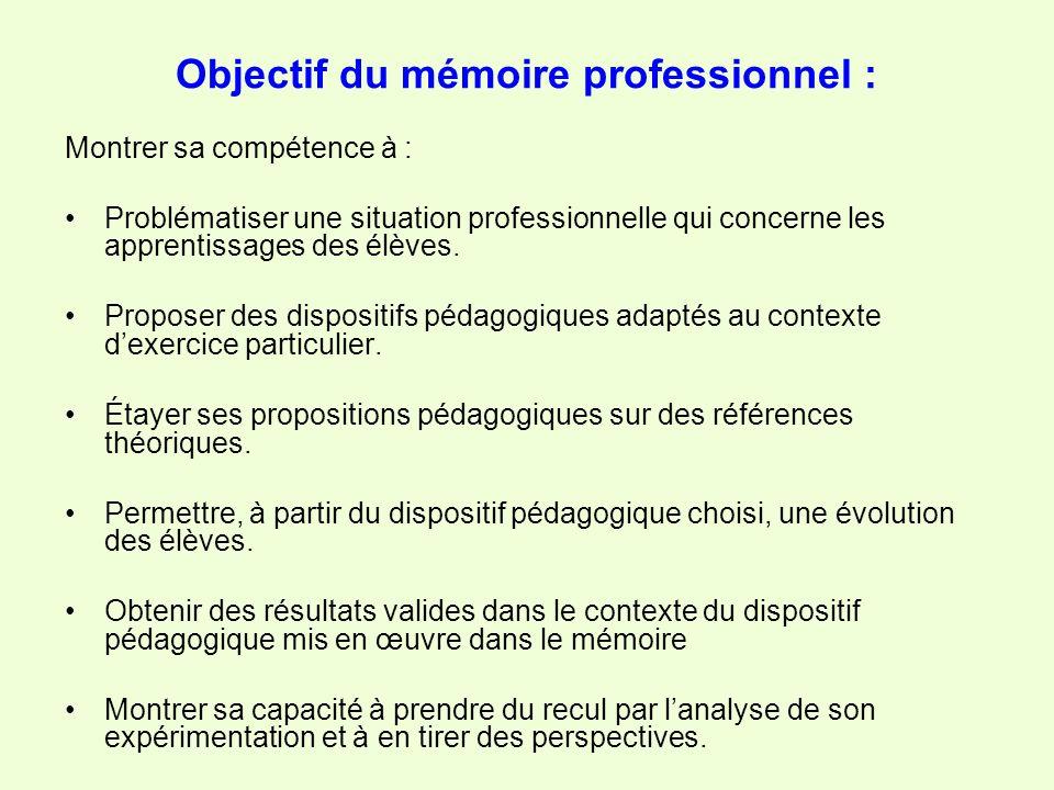 Objectif du mémoire professionnel :