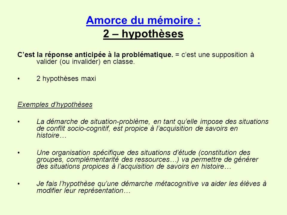 Amorce du mémoire : 2 – hypothèses