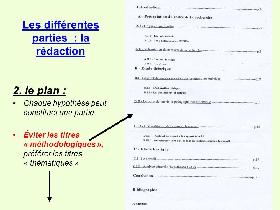 Les différentes parties : la rédaction