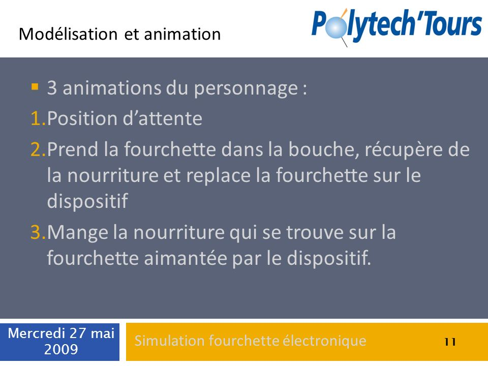 3 animations du personnage : Position d'attente