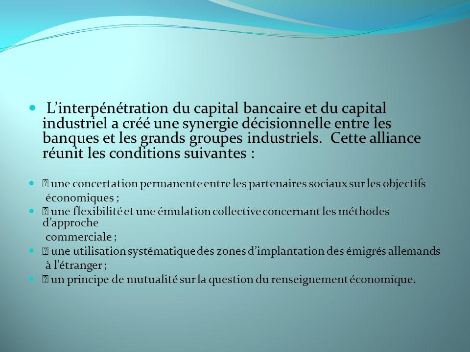 L'interpénétration du capital bancaire et du capital industriel a créé une synergie décisionnelle entre les banques et les grands groupes industriels. Cette alliance réunit les conditions suivantes :