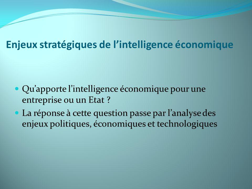 Enjeux stratégiques de l'intelligence économique