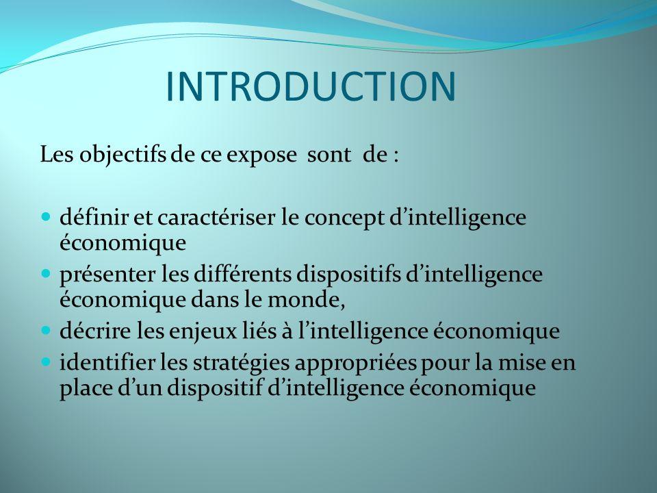 INTRODUCTION Les objectifs de ce expose sont de :
