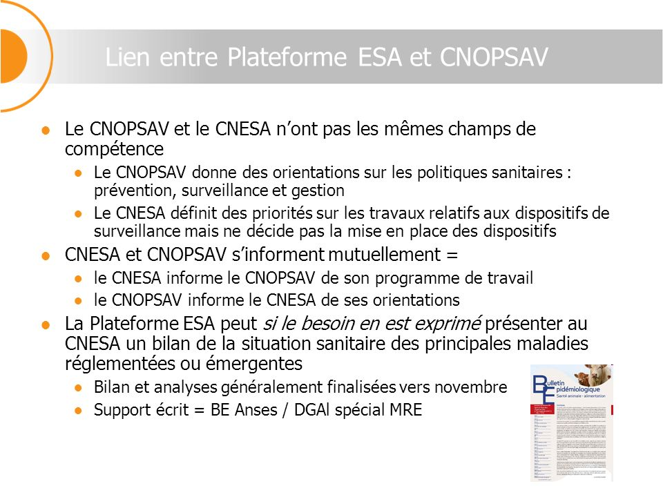 Lien entre Plateforme ESA et CNOPSAV