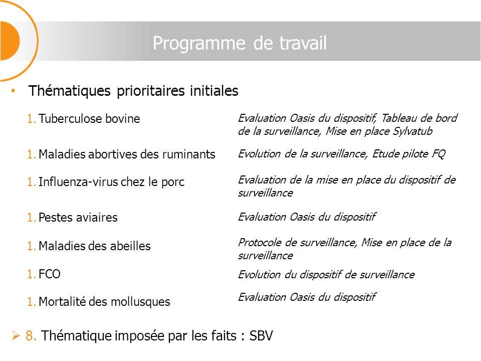 Programme de travail Thématiques prioritaires initiales