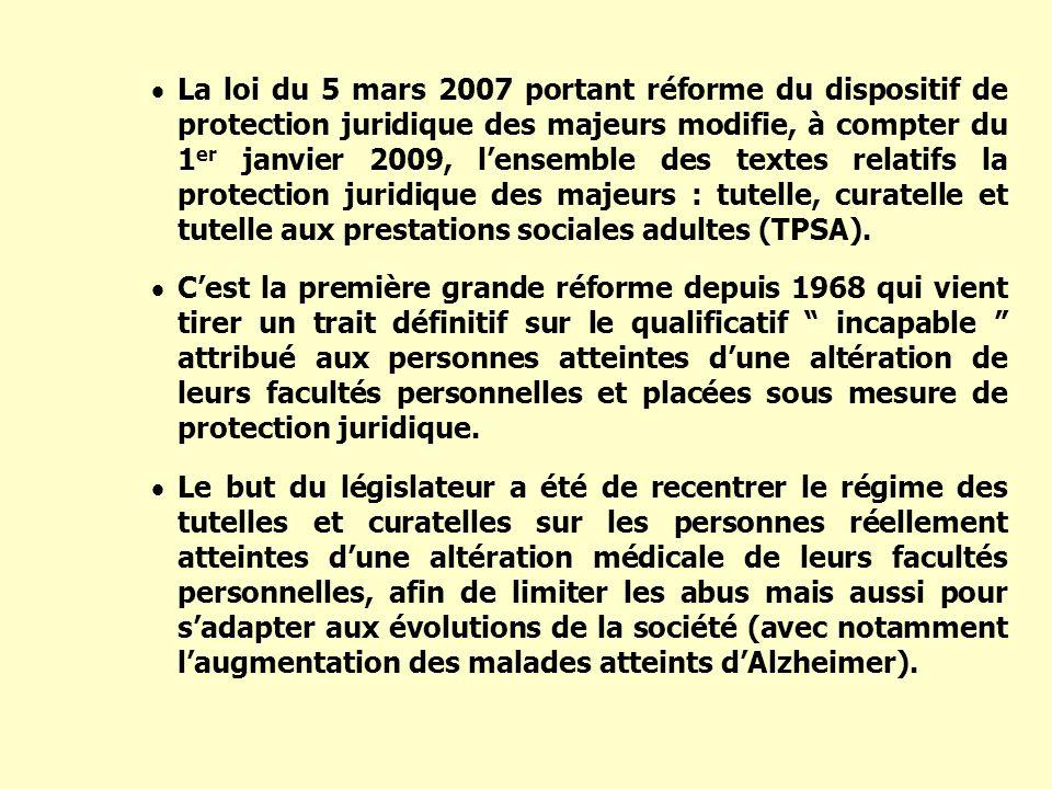 La loi du 5 mars 2007 portant réforme du dispositif de protection juridique des majeurs modifie, à compter du 1er janvier 2009, l'ensemble des textes relatifs la protection juridique des majeurs : tutelle, curatelle et tutelle aux prestations sociales adultes (TPSA).