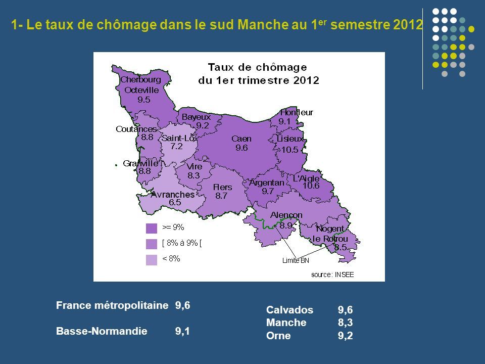 France métropolitaine 9,6 Basse-Normandie 9,1