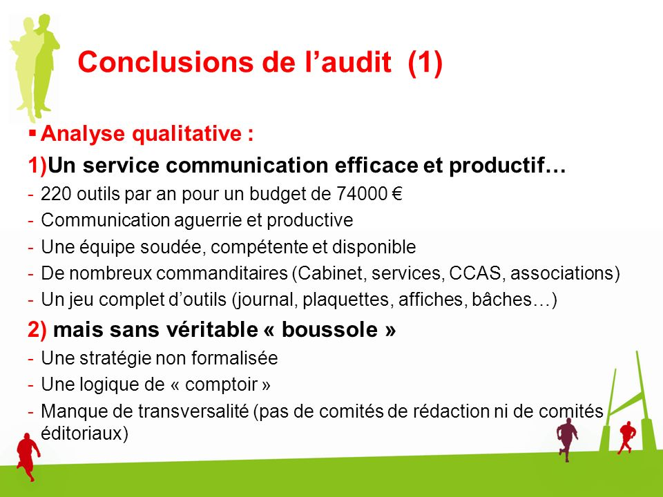 Conclusions de l'audit (1)
