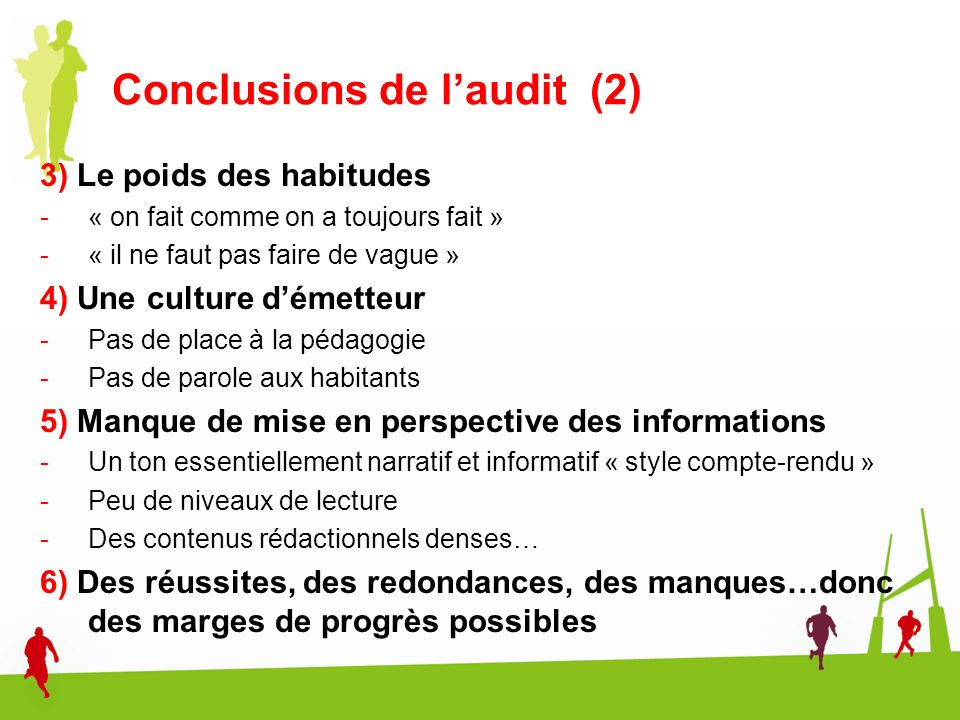Conclusions de l'audit (2)