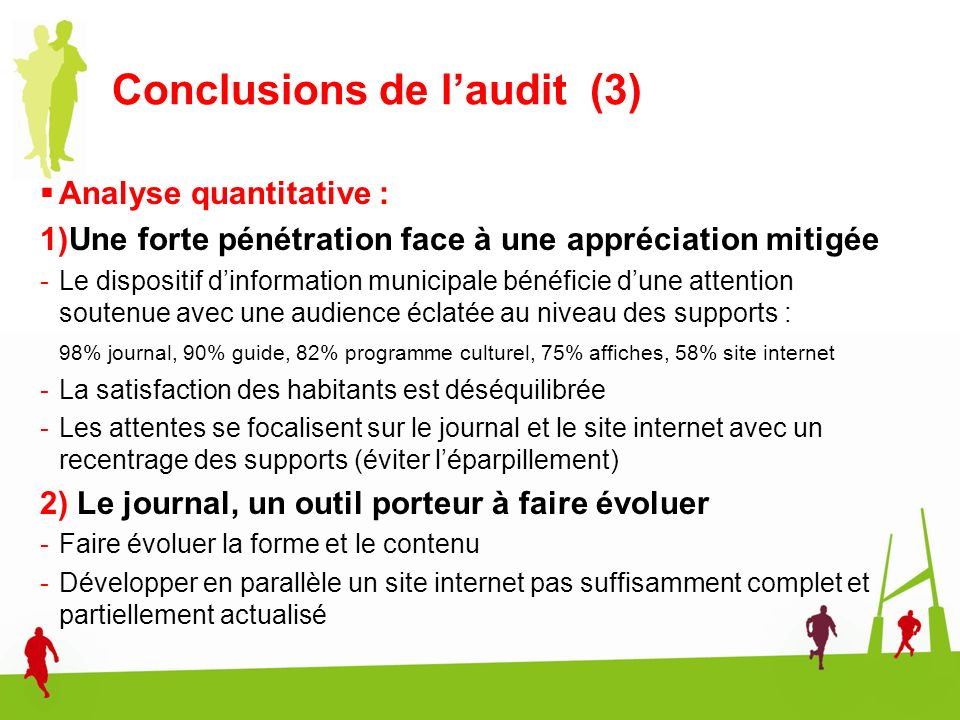 Conclusions de l'audit (3)