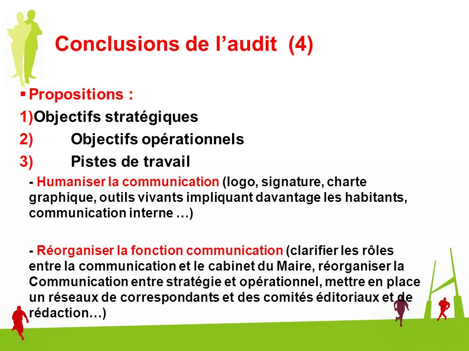 Conclusions de l'audit (4)