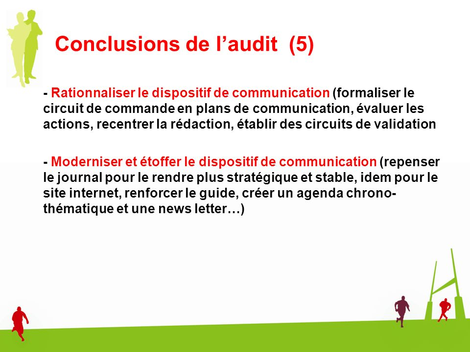 Conclusions de l'audit (5)
