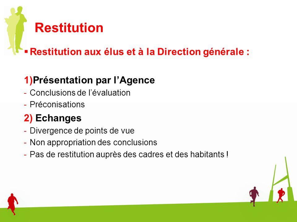 Restitution Restitution aux élus et à la Direction générale :