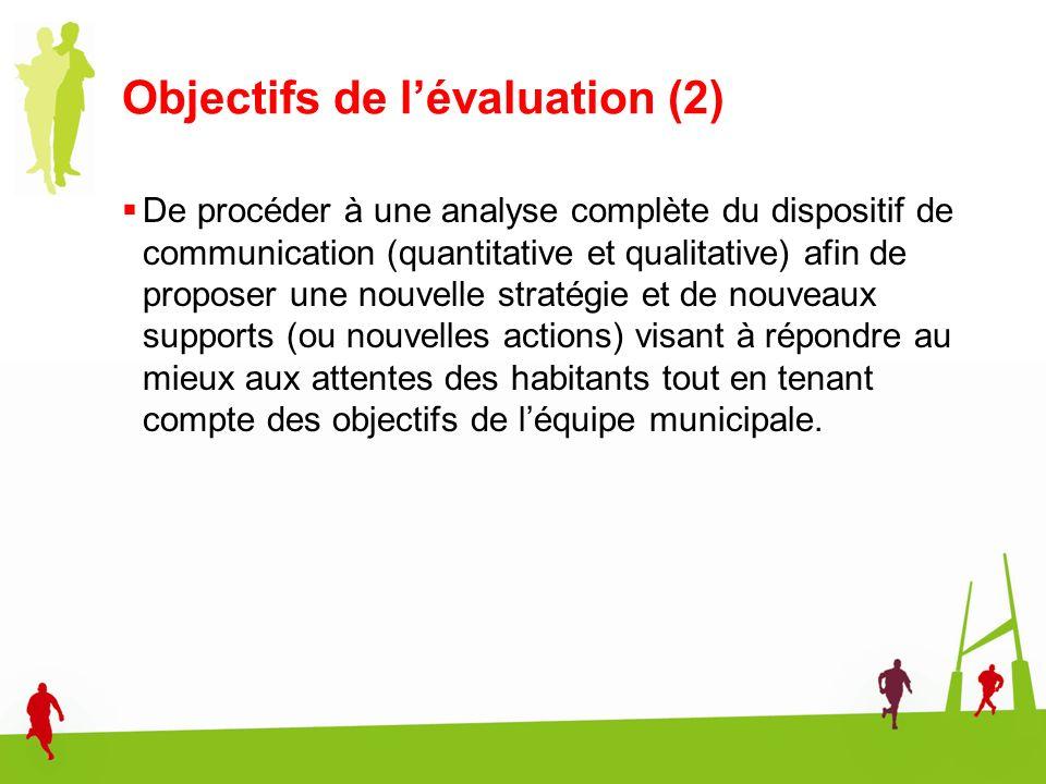 Objectifs de l'évaluation (2)