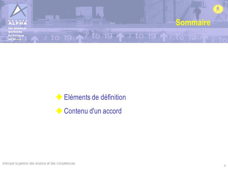 Sommaire Eléments de définition Contenu d un accord