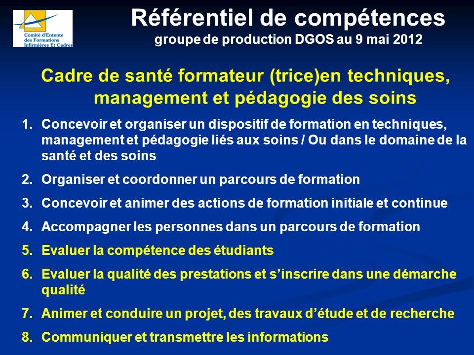 Référentiel de compétences groupe de production DGOS au 9 mai 2012