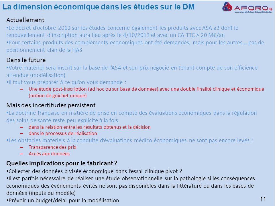 La dimension économique dans les études sur le DM