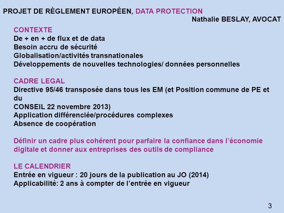 PROJET DE RÈGLEMENT EUROPÉEN, DATA PROTECTION