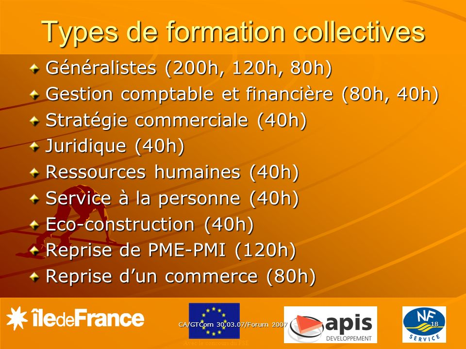 Types de formation collectives