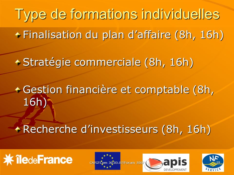 Type de formations individuelles