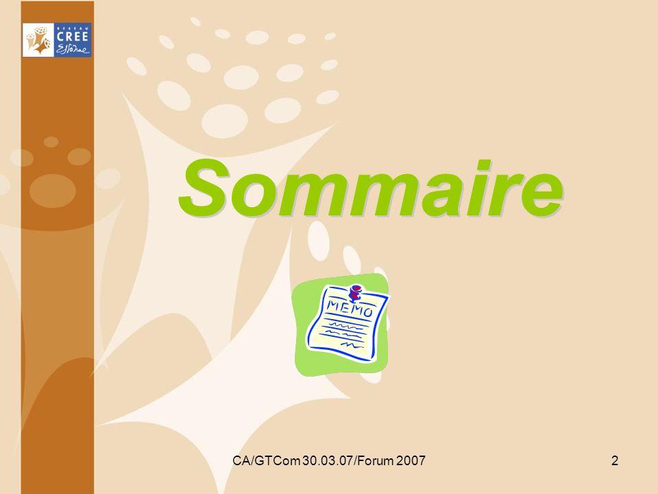 Sommaire CA/GTCom 30.03.07/Forum 2007