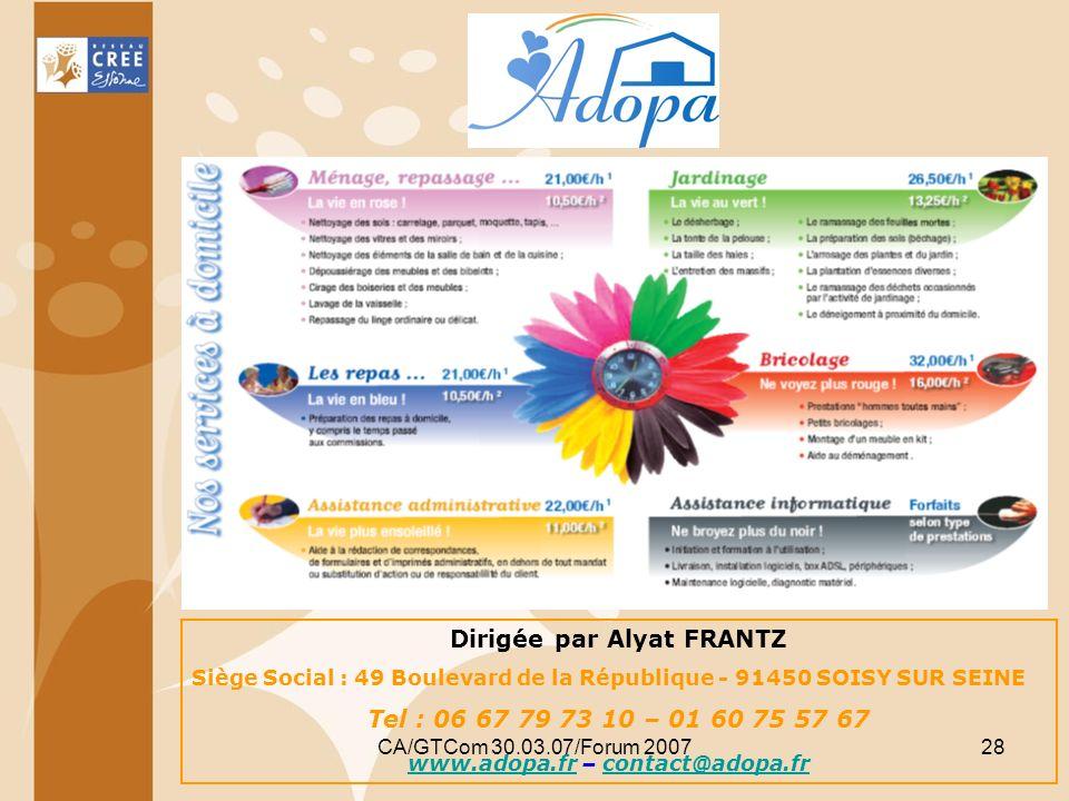 Dirigée par Alyat FRANTZ www.adopa.fr – contact@adopa.fr