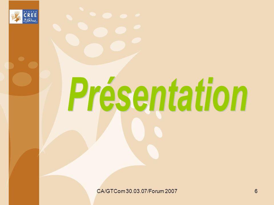 Présentation CA/GTCom 30.03.07/Forum 2007