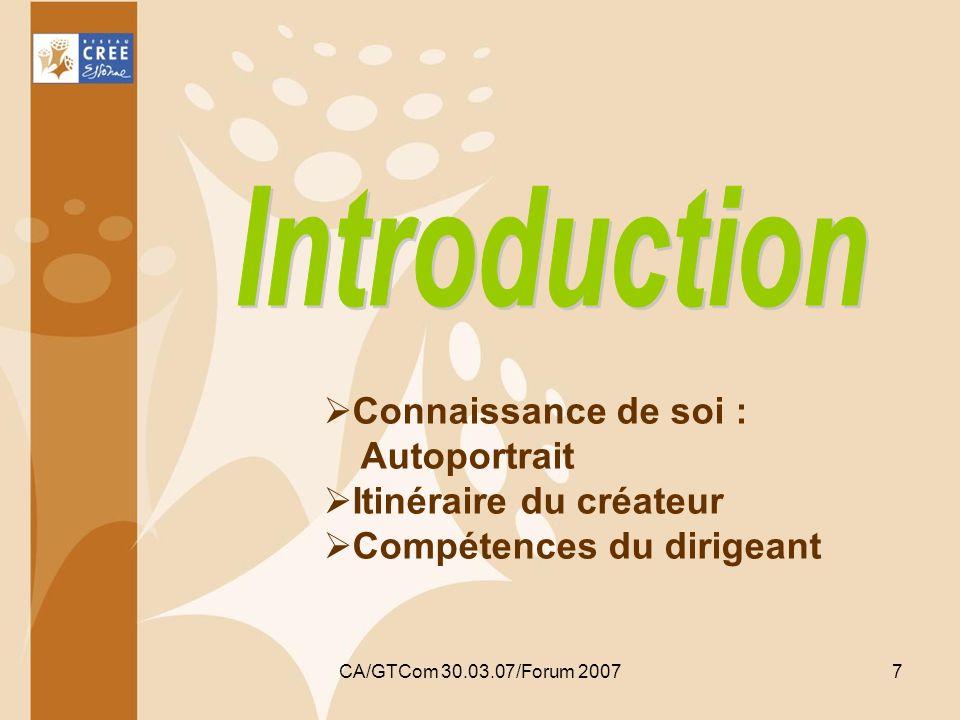 Introduction Connaissance de soi : Autoportrait Itinéraire du créateur