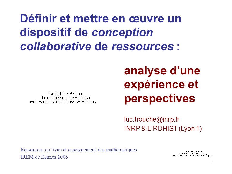 analyse d'une expérience et perspectives
