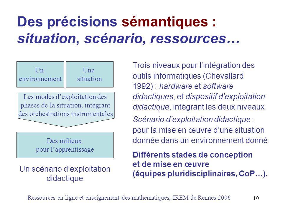 Des précisions sémantiques : situation, scénario, ressources…