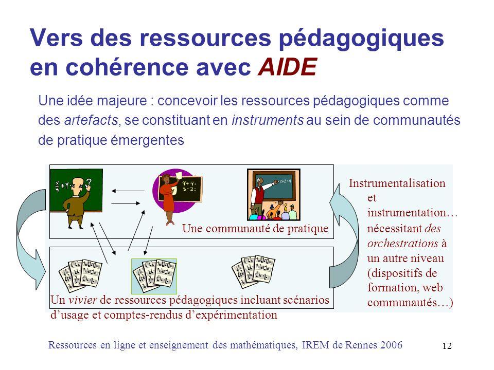 Vers des ressources pédagogiques en cohérence avec AIDE