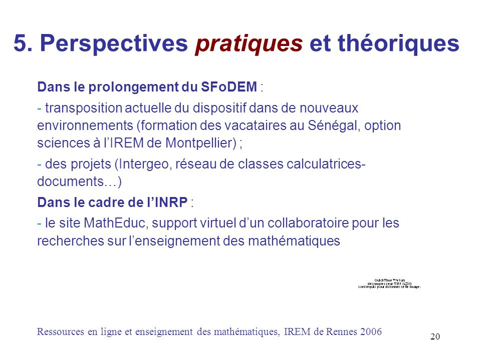 5. Perspectives pratiques et théoriques