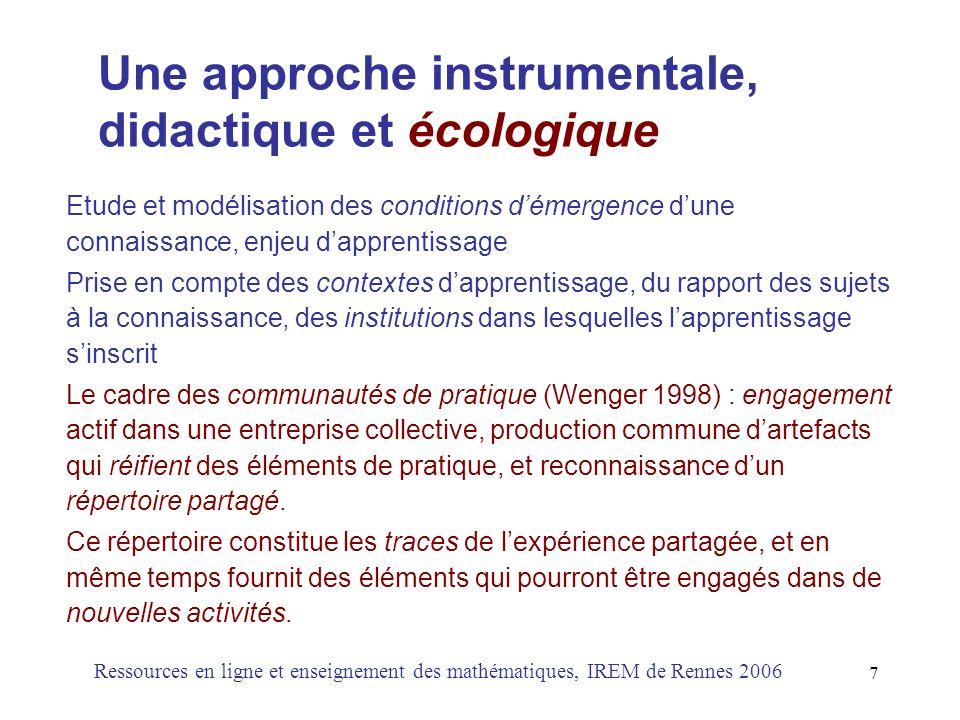 Une approche instrumentale, didactique et écologique