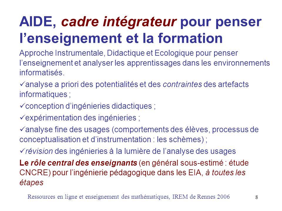 AIDE, cadre intégrateur pour penser l'enseignement et la formation