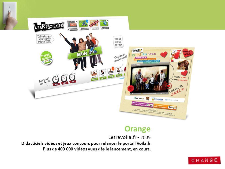Orange Lesrevoila.fr - 2009. Didacticiels vidéos et jeux concours pour relancer le portail Voila.fr.