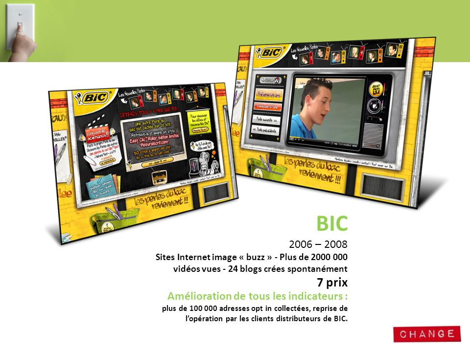 BIC 2006 – 2008 Sites Internet image « buzz » - Plus de 2000 000
