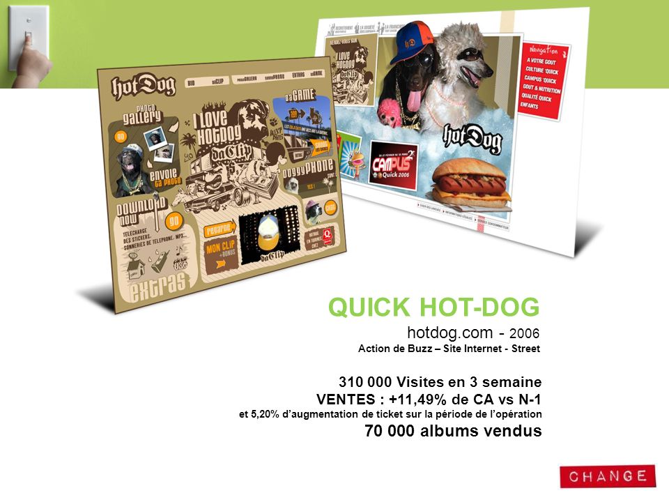 QUICK HOT-DOG hotdog.com - 2006 Action de Buzz – Site Internet - Street