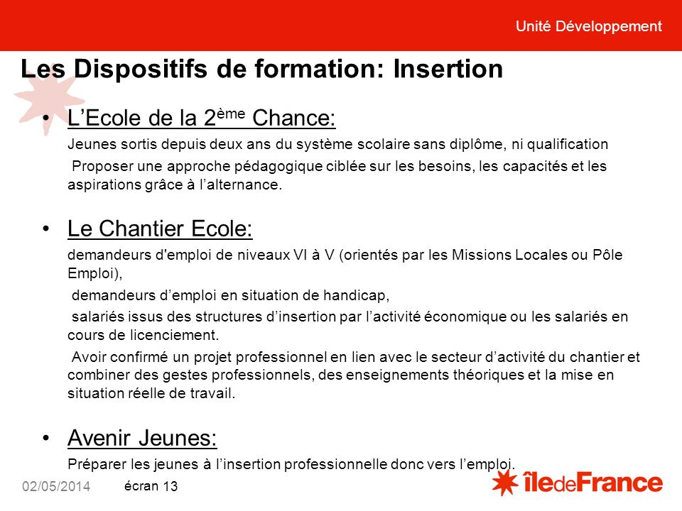 Les Dispositifs de formation: Insertion
