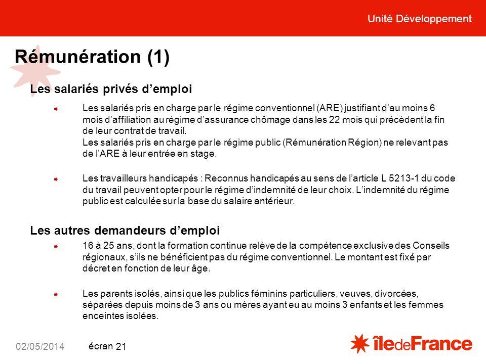 Rémunération (1) Les salariés privés d'emploi