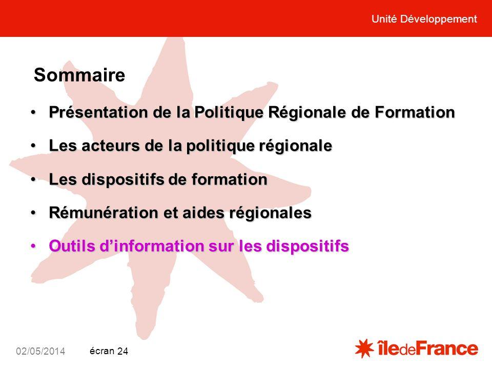 Sommaire Présentation de la Politique Régionale de Formation