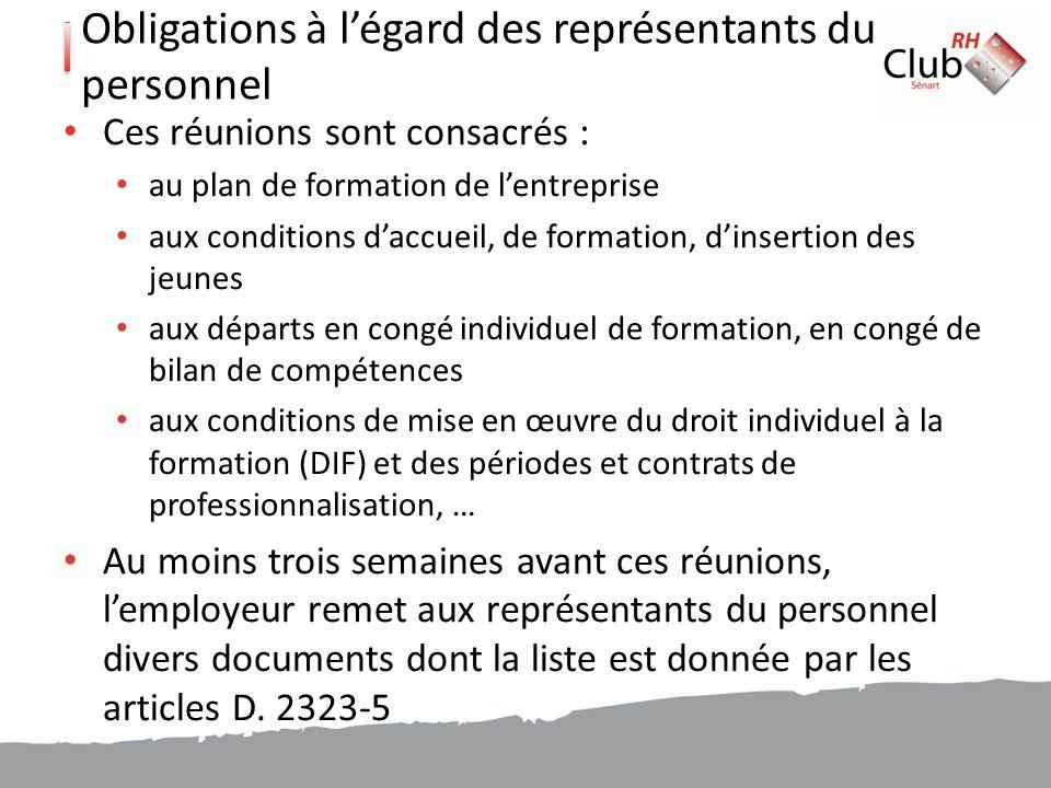 Obligations à l'égard des représentants du personnel