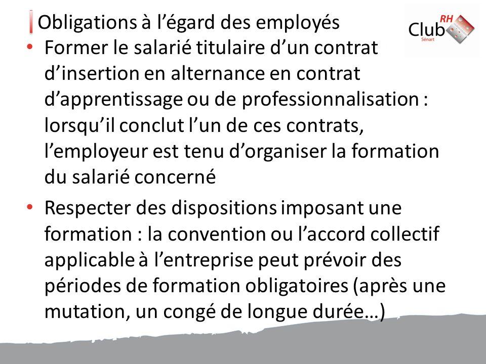 Obligations à l'égard des employés