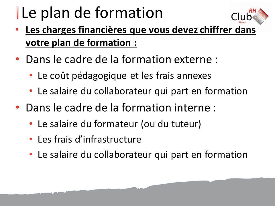 Le plan de formation Dans le cadre de la formation externe :