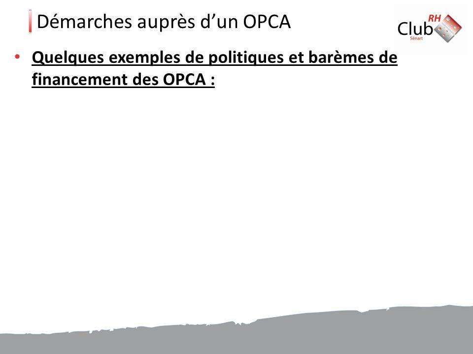 Démarches auprès d'un OPCA
