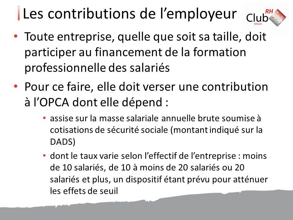 Les contributions de l'employeur