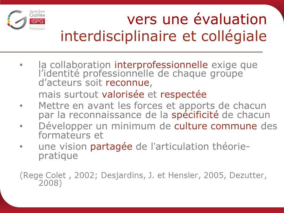vers une évaluation interdisciplinaire et collégiale