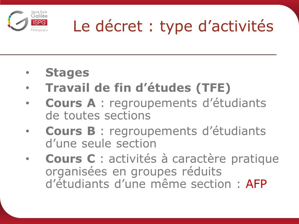 Le décret : type d'activités