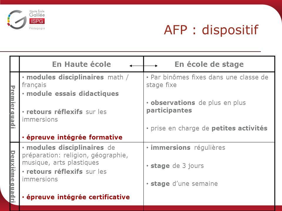AFP : dispositif En Haute école En école de stage