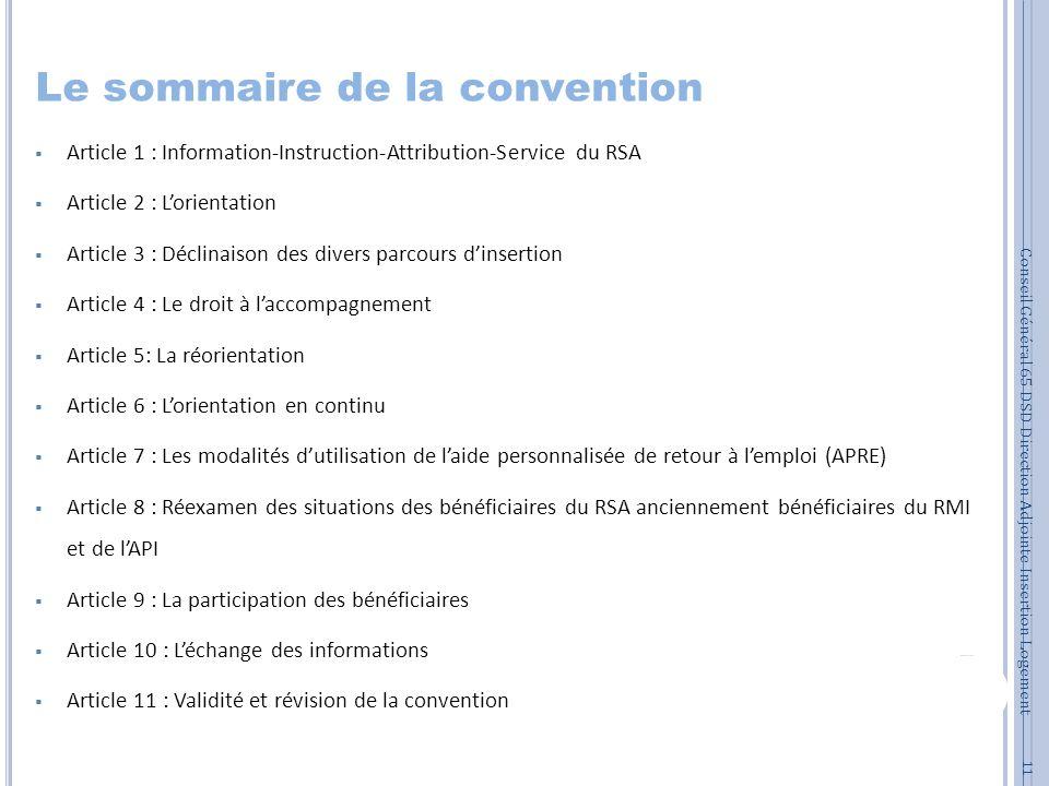Le sommaire de la convention