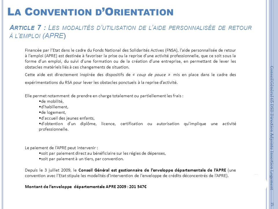 La Convention d'Orientation